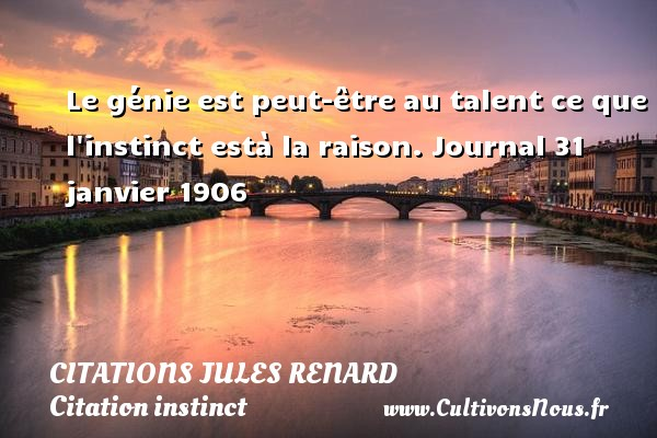 Le génie est peut-être au talent ce que l instinct està la raison.  Journal 31 janvier 1906   Une citation de Jules Renard CITATIONS JULES RENARD - Citations Jules Renard - Citation instinct