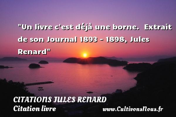 Un livre c est déjà une borne.   Extrait de son Journal 1893 - 1898, Jules Renard   Une citation sur le livre CITATIONS JULES RENARD - Citation livre