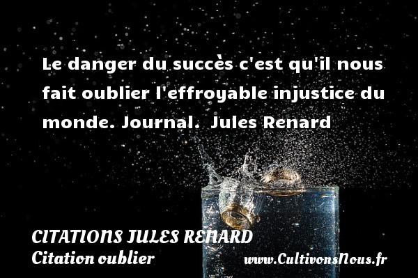 Le danger du succès c est qu il nous fait oublier l effroyable injustice du monde.  Journal. Jules Renard CITATIONS JULES RENARD - Citation oublier