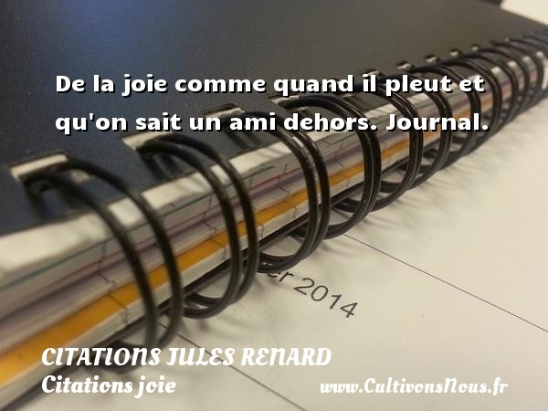 Citations Jules Renard - Citations joie - De la joie comme quand il pleut et qu on sait un ami dehors.  Journal.   Une citation de Jules Renard CITATIONS JULES RENARD