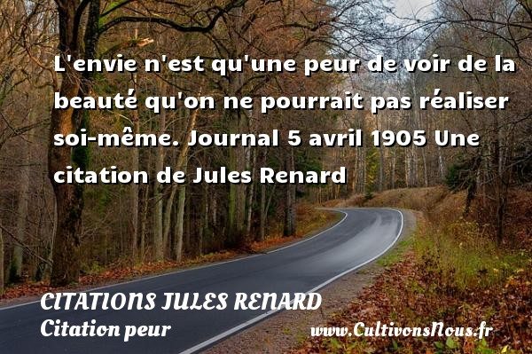 L envie n est qu une peur de voir de la beauté qu on ne pourrait pas réaliser soi-même.  Journal 5 avril 1905  Une  citation  de Jules Renard CITATIONS JULES RENARD - Citation peur