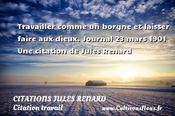 Travailler comme un borgne et laisser faire aux dieux.  Journal 23 mars 1901  Une  citation  de Jules Renard CITATIONS JULES RENARD - Citation travail
