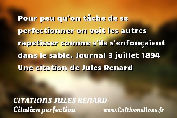 Citations Jules Renard - Citation perfection - Pour peu qu on tâche de se perfectionner on voit les autres rapetisser comme s ils s enfonçaient dans le sable.  Journal 3 juillet 1894  Une  citation  de Jules Renard CITATIONS JULES RENARD