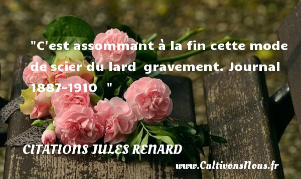 Citations Jules Renard - C est assommant à la fin cette mode de scier du lard  gravement.  Journal 1887-1910    Une citation de Jules Renard CITATIONS JULES RENARD