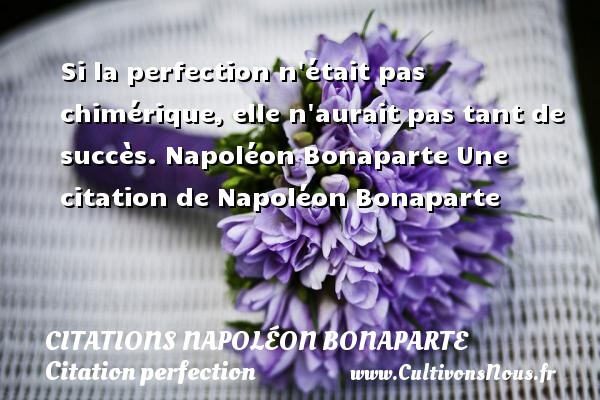Si la perfection n était pas chimérique, elle n aurait pas tant de succès.  Napoléon Bonaparte  Une  citation  de Napoléon Bonaparte CITATIONS NAPOLÉON BONAPARTE - Citations Napoléon Bonaparte - Citation perfection
