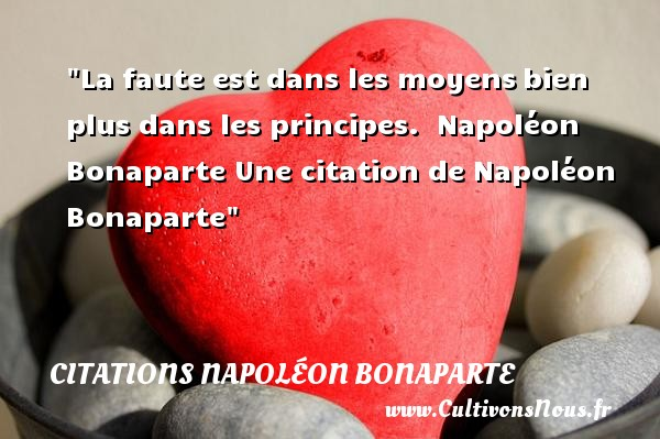 La faute est dans les moyens bien plus dans les principes.   Napoléon Bonaparte   Une citation sur faute CITATIONS NAPOLÉON BONAPARTE - Citations Napoléon Bonaparte - Citation fautes