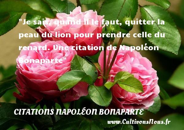 Je sais, quand il le faut, quitter la peau du lion pour prendre celle du renard.  Une  citation  de Napoléon Bonaparte CITATIONS NAPOLÉON BONAPARTE - Citations Napoléon Bonaparte - Citation quitter