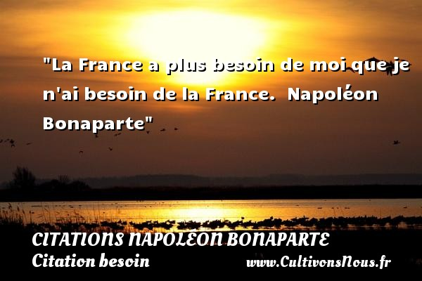 Citations Napoléon Bonaparte - Citation besoin - La France a plus besoin de moi que je n ai besoin de la France.   Napoléon Bonaparte   Une citation sur le besoin     CITATIONS NAPOLÉON BONAPARTE