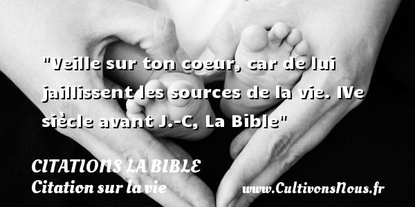 Veille sur ton coeur, car de lui jaillissent les sources de la vie.  IVe siècle avant J.-C, La Bible   Une citation sur la vie CITATIONS LA BIBLE