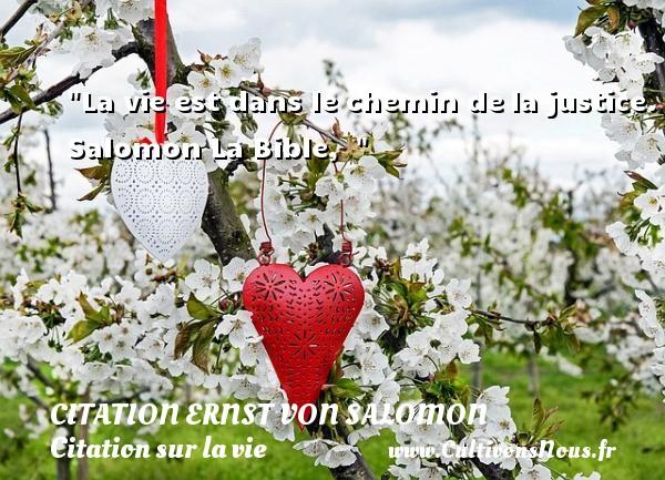 La vie est dans le chemin dela justice.  Salomon La Bible,   CITATION ERNST VON SALOMON - Citation chemin - Citation sur la vie
