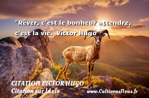 citation Victor Hugo - Citation sur la vie - Rêver, c est le bonheur attendre, c est la vie.   Victor Hugo   Une citation sur la vie CITATION VICTOR HUGO
