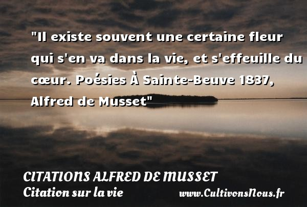Il existe souvent une certaine fleur qui s en va dans la vie, et s effeuille du cœur.  Poésies À Sainte-Beuve 1837, Alfred de Musset   Une citation sur la vie CITATIONS ALFRED DE MUSSET