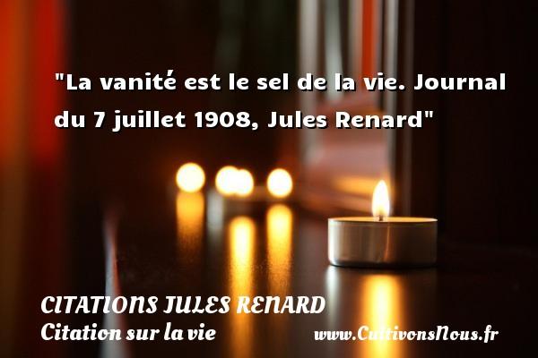 La vanité est le sel de la vie.  Journal du 7 juillet 1908, Jules Renard   Une citation sur la vie CITATIONS JULES RENARD