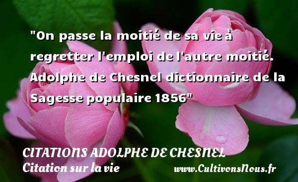 On passe la moitié de sa vieà regretter l emploi del autre moitié.  Adolphe de Chesnel  dictionnaire de la Sagessepopulaire1856 CITATIONS ADOLPHE DE CHESNEL - Citation sur la vie