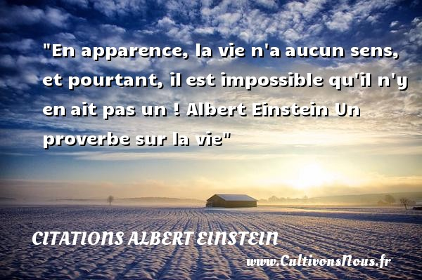 Citations Albert Einstein - Citation sur la vie - En apparence, la vie n aaucun sens, et pourtant, ilest impossible qu il n y enait pas un !  Albert Einstein   CITATIONS ALBERT EINSTEIN