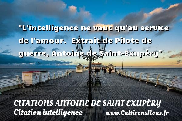 Citations Antoine de Saint Exupéry - Citation intelligence - L intelligence ne vaut qu au service de l amour.   Extrait de Pilote de guerre, Antoine de Saint-Exupéry   Une citation sur l intelligence    CITATIONS ANTOINE DE SAINT EXUPÉRY