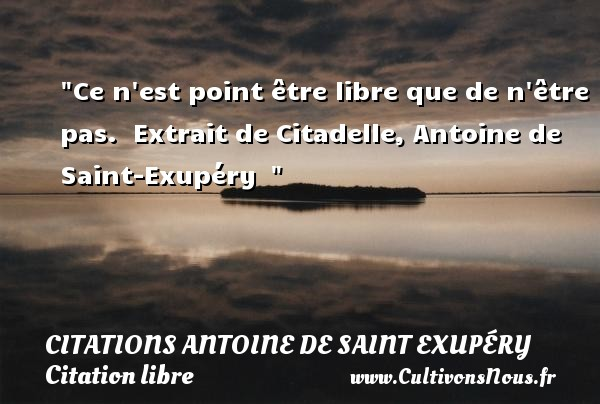 Citations Antoine de Saint Exupéry - Citation libre - Ce n est point être libre que de n être pas.   Extrait de Citadelle, Antoine de Saint-Exupéry    CITATIONS ANTOINE DE SAINT EXUPÉRY