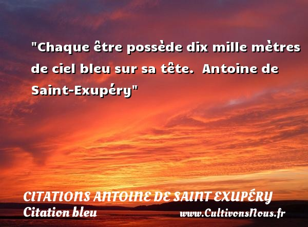 Chaque être possède dix mille mètres de ciel bleu sur sa tête.   Antoine de Saint-Exupéry   Une citation sur bleu    CITATIONS ANTOINE DE SAINT EXUPÉRY - Citations Antoine de Saint Exupéry - Citation bleu