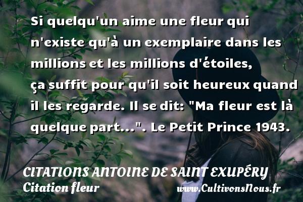 Citations Antoine de Saint Exupéry - Citation fleur - Si quelqu un aime une fleurqui n existe qu à unexemplaire dans les millionset les millions d étoiles, çasuffit pour qu il soit heureuxquand il les regarde. Il sedit:  Ma fleur est là quelquepart... .  Le Petit Prince 1943.     Une citation d Antoine de Saint-Exupéry CITATIONS ANTOINE DE SAINT EXUPÉRY