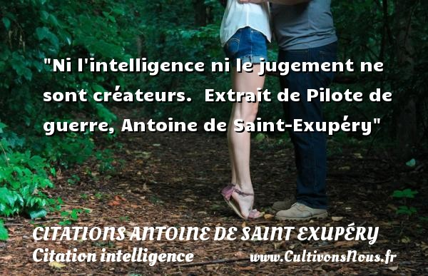 Ni l intelligence ni le jugement ne sont créateurs.   Extrait de Pilote de guerre, Antoine de Saint-Exupéry   Une citation sur l intelligence    CITATIONS ANTOINE DE SAINT EXUPÉRY - Citations Antoine de Saint Exupéry - Citation intelligence