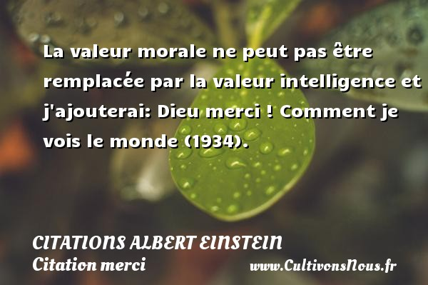 Citations - Citations Albert Einstein - Citation merci - La valeur morale ne peut pas être remplacée par la valeur intelligence et j ajouterai: Dieu merci !  Comment je vois le monde (1934).   Une citation d Albert Einstein CITATIONS ALBERT EINSTEIN