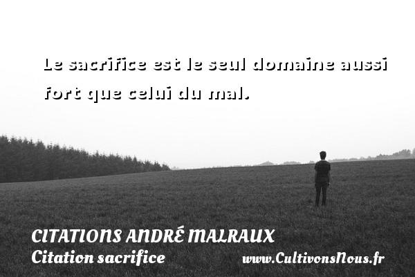 Le sacrifice est le seul domaine aussi fort que celui du mal.    Une citation d André Malraux CITATIONS ANDRÉ MALRAUX - Citations André Malraux - Citation sacrifice