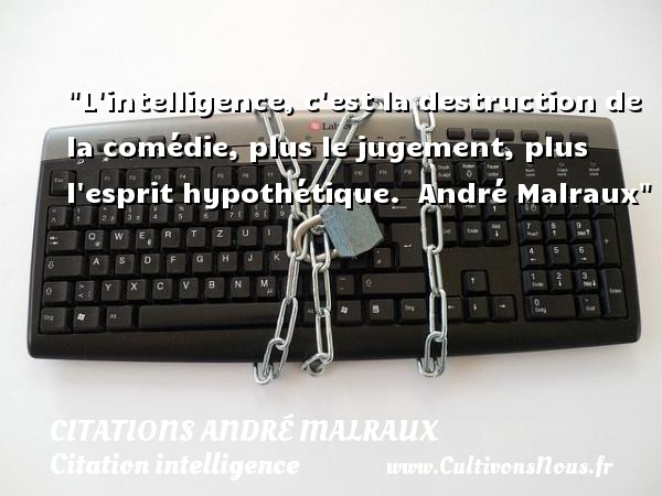 L intelligence, c est la destruction de la comédie, plus le jugement, plus l esprit hypothétique.   André Malraux   Une citation sur l intelligence CITATIONS ANDRÉ MALRAUX - Citations André Malraux - Citation intelligence