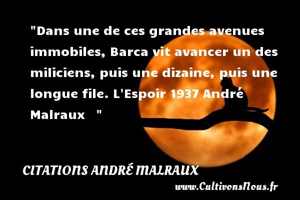Dans une de ces grandes avenues immobiles, Barca vit avancer un des miliciens, puis une dizaine, puis une longue file.  L Espoir 1937 André Malraux    CITATIONS ANDRÉ MALRAUX - Citations André Malraux - Citations espoir