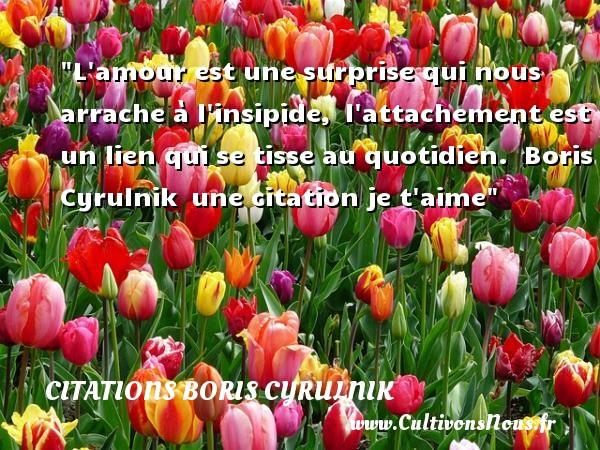 L amour est une surprise qui nous arrache à l insipide, l attachement est un lien qui se tisse au quotidien.   Boris Cyrulnik une citation je t aime CITATIONS BORIS CYRULNIK - Citations je t aime