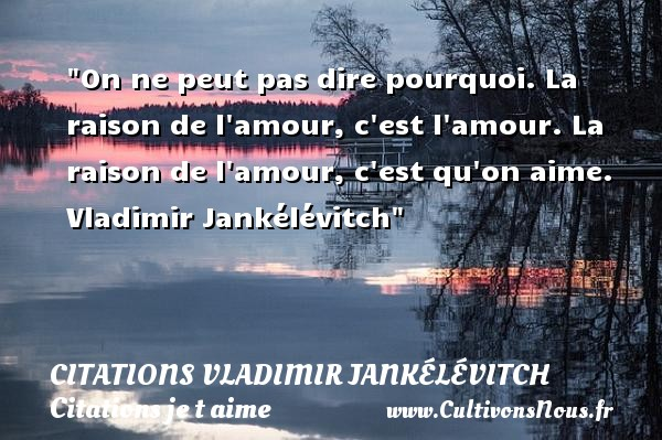 Citations Vladimir Jankélévitch - Citations je t aime - On ne peut pas dire pourquoi. La raison de l amour, c est l amour. La raison de l amour, c est qu on aime.   Vladimir Jankélévitch   Une citation je t aime CITATIONS VLADIMIR JANKÉLÉVITCH