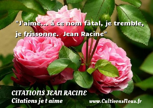 J aime... à ce nom fatal, je tremble, je frissonne.   Jean Racine   Une citation je t aime CITATIONS JEAN RACINE - Citations Jean Racine - Citations je t aime