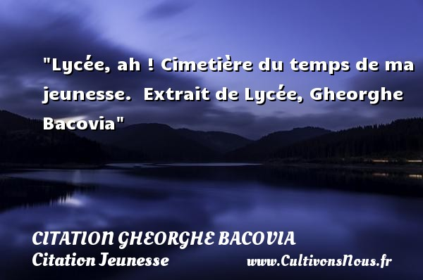 Lycée, ah ! Cimetière du temps de ma jeunesse.   Extrait de Lycée, Gheorghe Bacovia   Une citation sur la jeunesse CITATION GHEORGHE BACOVIA - Citation Jeunesse