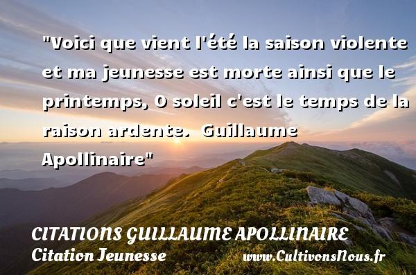 Voici que vient l'été la   Citations Guillaume Apollinaire
