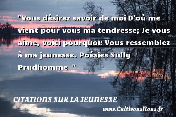 Vous désirez savoir de moiD où me vient pour vous matendresse;Je vous aime, voici pourquoi:Vous ressemblez à ma jeunesse.   Sully Prudhomme   Une citation sur la jeunesse CITATION RENÉ FRANÇOIS ARMAND SULLY PRUDHOMME - Citation René François Armand Sully Prudhomme - Citation Jeunesse