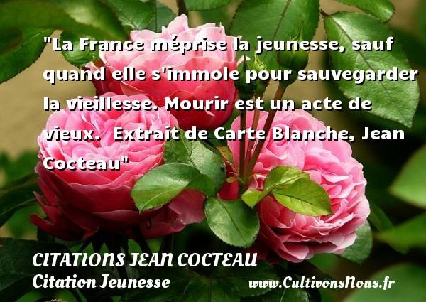 Citations Jean Cocteau - Citation Jeunesse - La France méprise la jeunesse, sauf quand elle s immole pour sauvegarder la vieillesse. Mourir est un acte de vieux.   Extrait de Carte Blanche, Jean Cocteau   Une citation sur la jeunesse CITATIONS JEAN COCTEAU