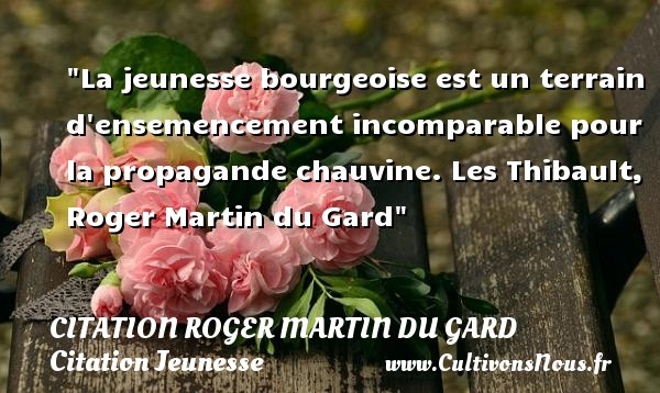 La jeunesse bourgeoise est un terrain d ensemencement incomparable pour la propagande chauvine.  Les Thibault, Roger Martin du Gard   Une citation sur la jeunesse CITATION ROGER MARTIN DU GARD - Citation Jeunesse