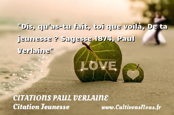 Dis, qu as-tu fait, toi que voilà, De ta jeunesse ?  Sagesse 1874, Paul Verlaine   Une citation sur la jeunesse CITATIONS PAUL VERLAINE - Citation Jeunesse