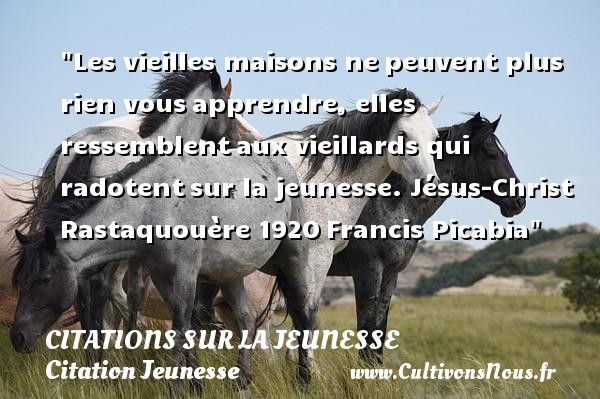 Les vieilles maisons ne peuvent plus rien vous apprendre, elles ressemblent aux vieillards qui radotent sur la jeunesse.  Jésus-Christ Rastaquouère 1920, Francis Picabia   Une citation sur la jeunesse CITATIONS FRANCIS PICABIA - Citation Jeunesse - Citation maison