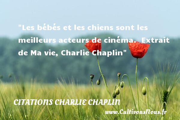 Les bébés et les chiens sont les meilleurs acteurs de cinéma.   Extrait de Ma vie, Charlie Chaplin   Une citation sur les bébés CITATIONS CHARLIE CHAPLIN - Citation bébé