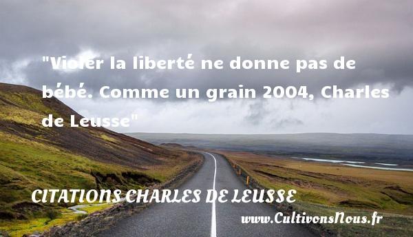 Violer la liberté ne donne pas de bébé.  Comme un grain 2004, Charles de Leusse   Une citation sur les bébés CITATIONS CHARLES DE LEUSSE - Citation bébé - Citation liberté