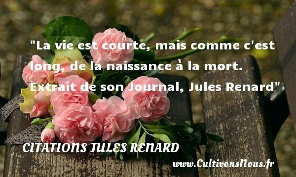 La vie est courte, mais comme c est long, de la naissance à la mort.   Extrait de son Journal, Jules Renard   Une citation sur la naissance CITATIONS JULES RENARD - citation naissance