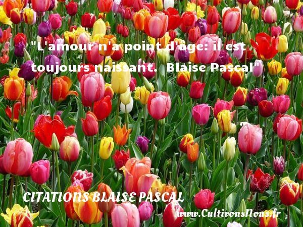 Citations Blaise Pascal - citation naissance - L amour n a point d âge: il est toujours naissant.   Blaise Pascal   Une citation sur la naissance CITATIONS BLAISE PASCAL