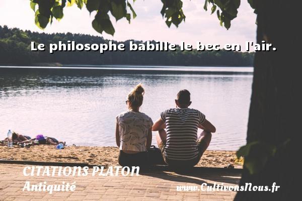 Le philosophe babille le bec en l air.  Une citation de Platon CITATIONS PLATON - Antiquité - Citation philosophie