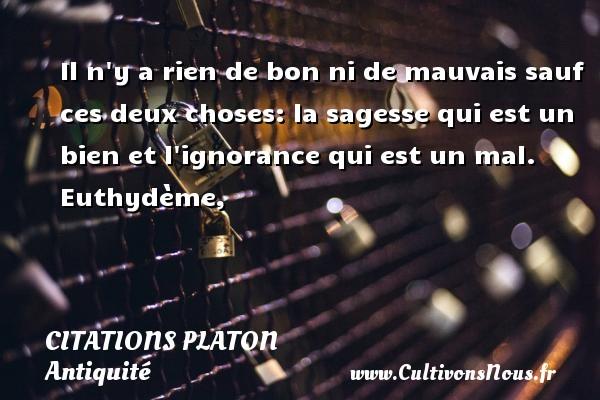 Citations - Citations Platon - Antiquité - Citation philosophie - philosophe - Il n y a rien de bon ni de mauvais sauf ces deux choses: la sagesse qui est un bien et l ignorance qui est un mal.  Euthydème,  Une citation de Platon CITATIONS PLATON