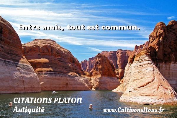 Entre amis, tout est commun.  Une citation de Platon CITATIONS PLATON - Antiquité - Citation philosophie - philosophe