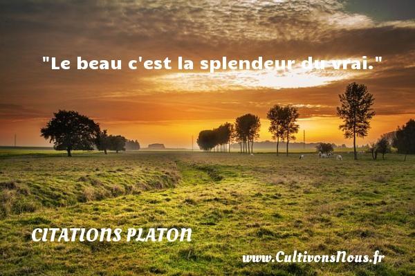 Le beau c est la splendeur du vrai.  Une citation de Platon CITATIONS PLATON - Antiquité - Citation philosophie - philosophe