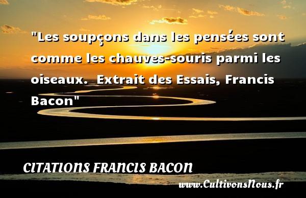 Les soupçons dans les pensées sont comme les chauves-souris parmi les oiseaux.   Extrait des Essais, Francis Bacon   Une citation sur la peur ou Halloween CITATIONS FRANCIS BACON - Citation Halloween