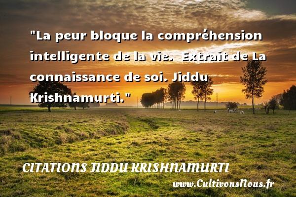 La peur bloque la compréhension intelligente de la vie.   Extrait de La connaissance de soi. Jiddu Krishnamurti. Une citation sur la peur CITATIONS JIDDU KRISHNAMURTI - Citation peur