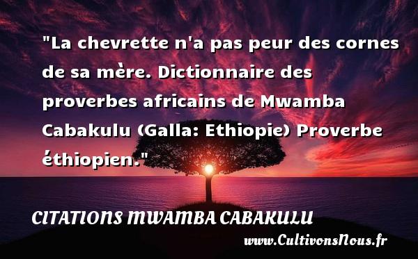 Citations Mwamba Cabakulu - Citation peur - La chevrette n a pas peur des cornes de sa mère.  Dictionnaire des proverbes africains de Mwamba Cabakulu (Galla: Ethiopie)  Proverbe éthiopien. Une citation sur la peur CITATIONS MWAMBA CABAKULU