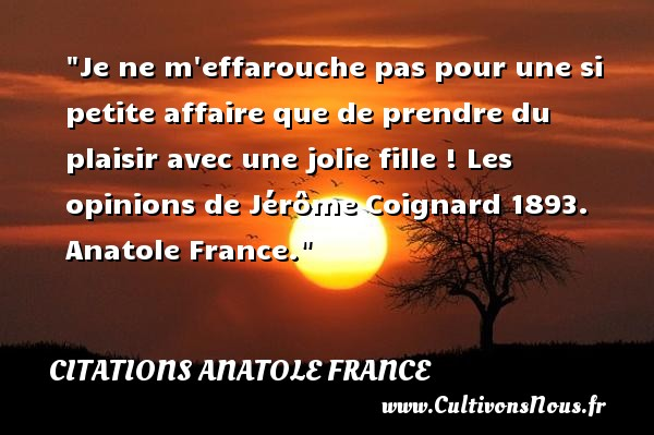 Je ne m effarouche pas pour une si petite affaire que de prendre du plaisir avec une jolie fille !  Les opinions de Jérôme Coignard 1893. Anatole France. Une citation sur la peur CITATIONS ANATOLE FRANCE - Citation peur